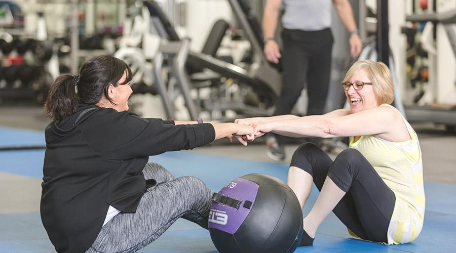 Women with Medicine Ball